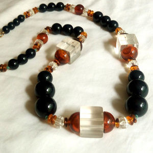 Black, Faux Tortoise, & Clear Cube Lucite Necklace